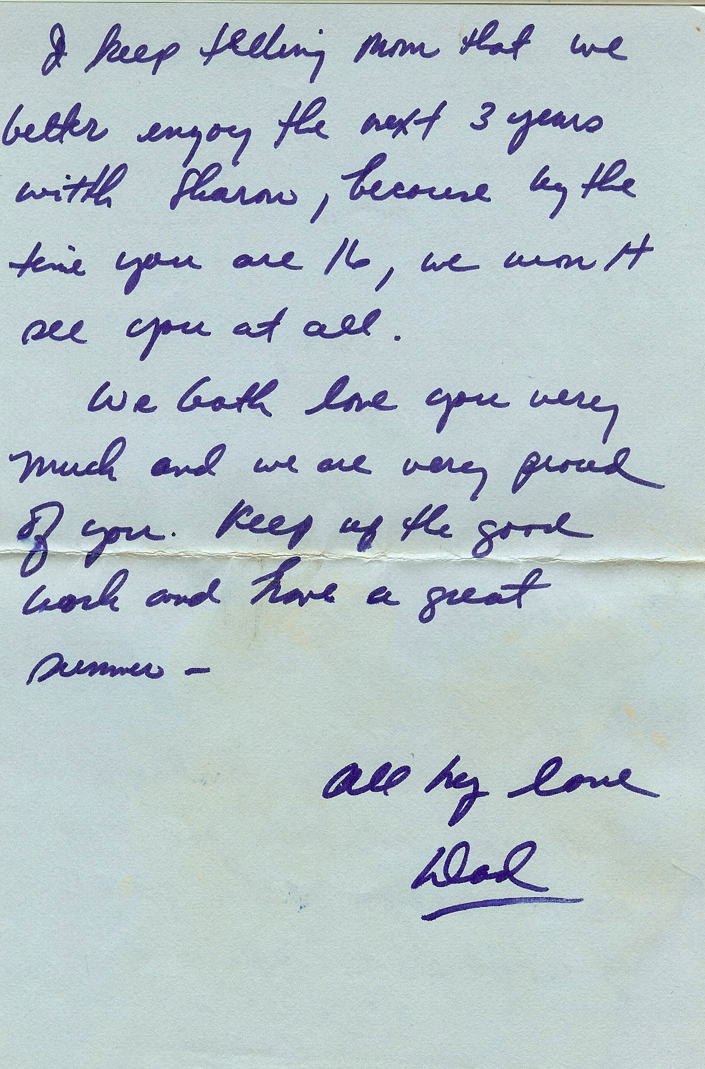 page 1 letter handwritten father correspondence memory family midlife empty nest